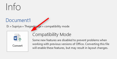 Convert Compatibility Mode