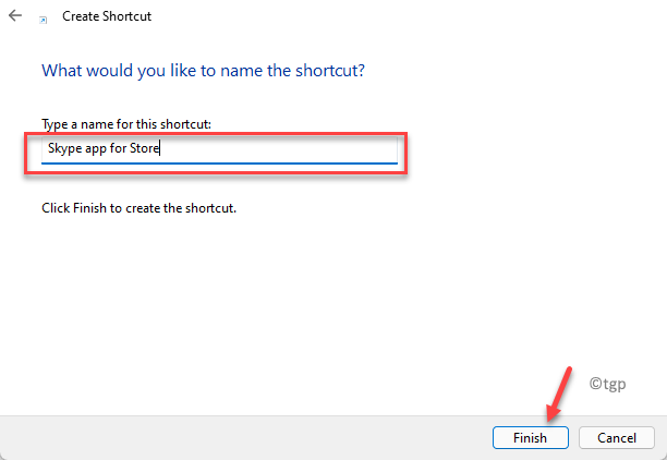 Create Shortcut Type A Name For This Shortcut Skype App For Store Finish