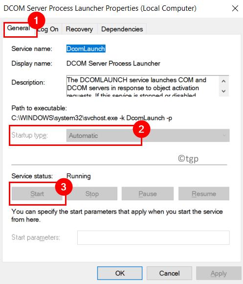 Dcom Server Process Properties Min