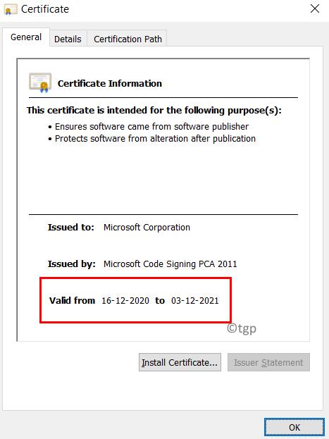 Digital Certificate Validity Min