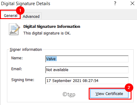 Digital Signature Details View Certificate Min