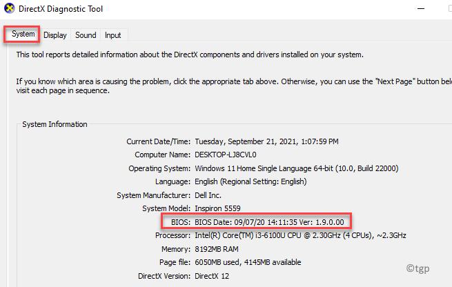 Directx Diagnostic Tool System Tab Bios Bios Version Exit Min