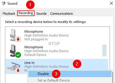 Disbale The Line In Device Min Min