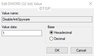 Disbaleantispyware