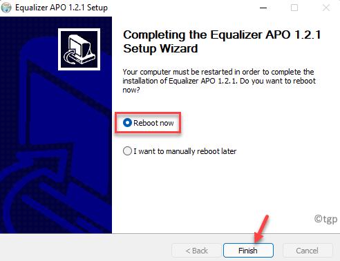 Equalizer Apo Setup Wizard Reboot Now Finish