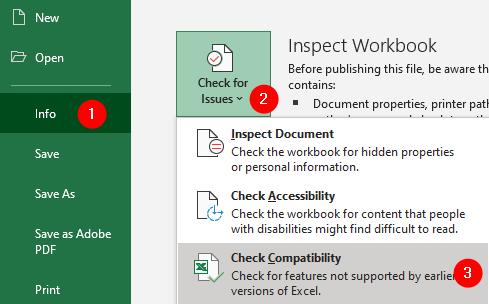 Excel Info Comaptibility Mode