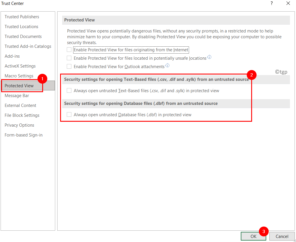 Excel Protected View Settings Min