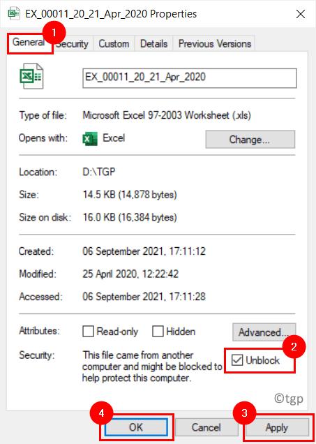 Excle File Properties Unblock Min