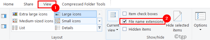 File Explorer File View File Name Extensions Min