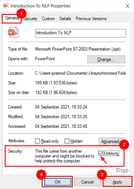 File Properties Unblock Min