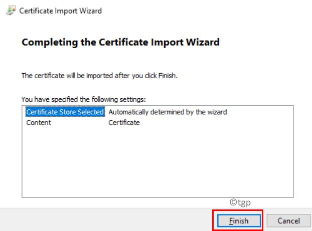 Finish Certificate Import Min
