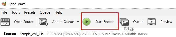 Handbrake Start Encode Min