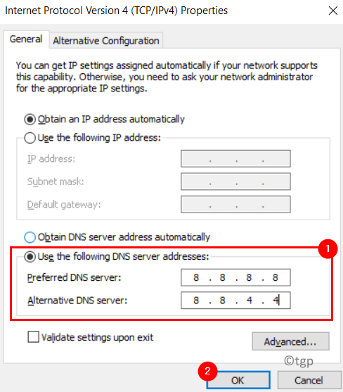Ipv4 Preferred Alternate Dns Server Min