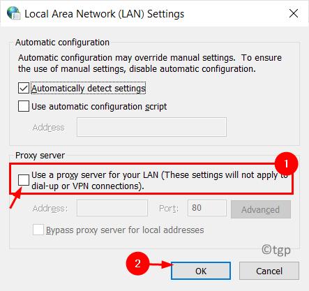 Lan Settings Uncheck Proxy Server Min