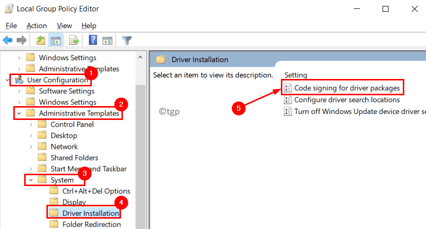 Local Group Policy Editor Driver Installation Code Signing Driver Packages Min