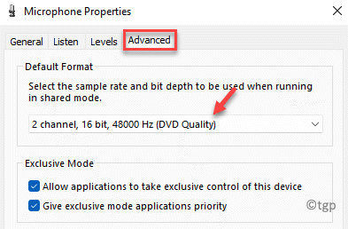 Microphone Properties Advanced Default Format Select From Drop Down Apply Ok Min