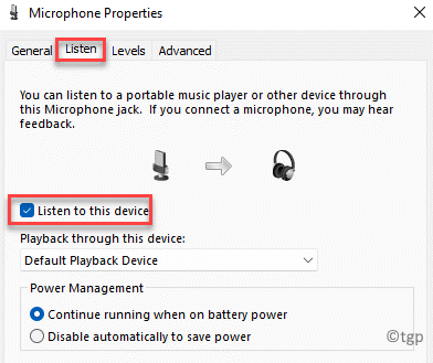Microphone Properties Listen Tab Listen To This Device Check Min