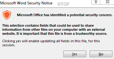 Microsft Office Security Notice