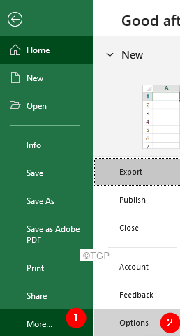 More Excel Options