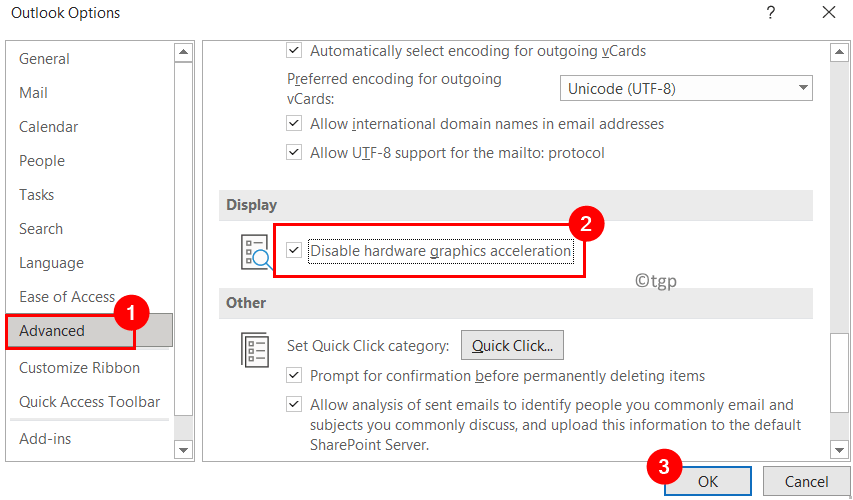 Outlook Disable Graphics Acceleration Min