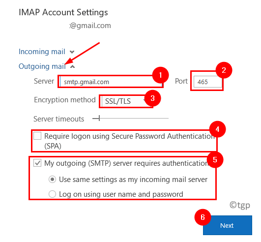 Outlook Imao Outgoing Mail Settings Min