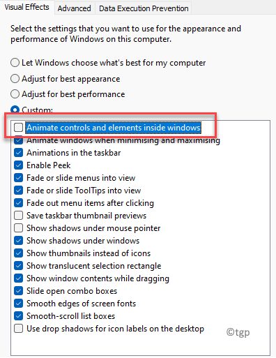 Performance Options Visual Effects Animate Controls And Elements Inside Windows Uncheck Min