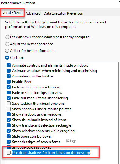 Performance Options Visual Effects Use Drop Shadows For Icon Labels On The Desktop Uncheck Min