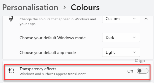 Personalisation Colours Transparency Effects Turn Off Min