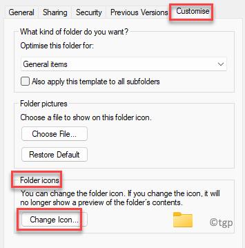 Properties Customise Folder Icons Change Icon