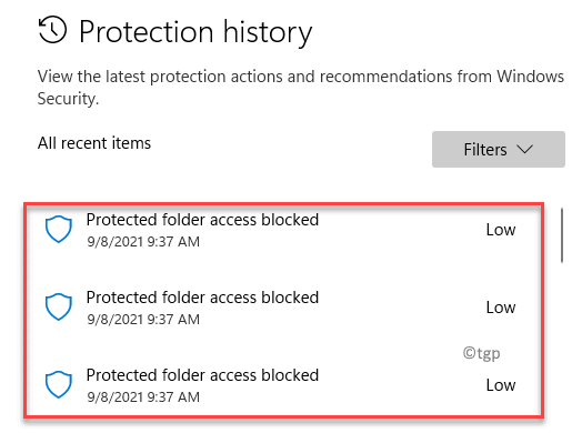 Protection History All Recent Items Min