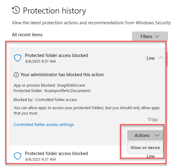 Protection History Select An Item Actions Allow On Device Min