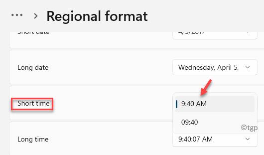 Regional Format Short Time Select 12 Or 24 Hour Format