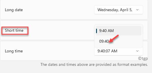 Regional Format Short Time Select 24 Hour Format