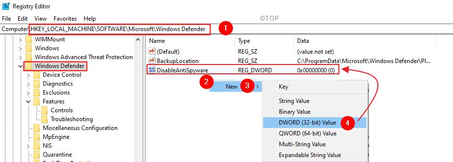 Registry Key Windows Defender