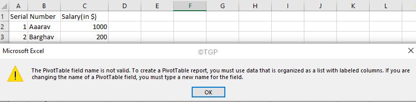Relicate Pivot Error