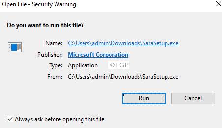 Security Warning Run