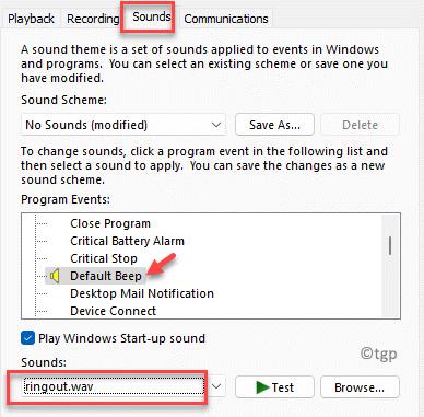 Sound Sounds Tab Program Events Default Beep Sounds Select Any Other Sound Apply Ok Min