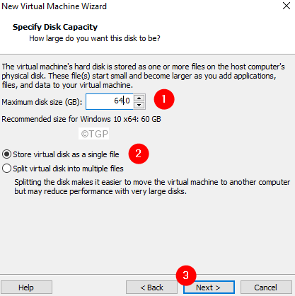 Specify The Disk Capacity
