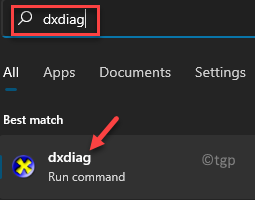 Start Windows Search Dxdiag Best Match Result