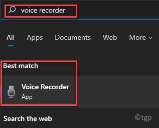 Start Windows Search Voice Recorder Best Match Result