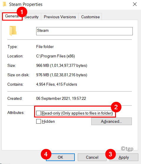Steam Properties Uncheck Read Only Min