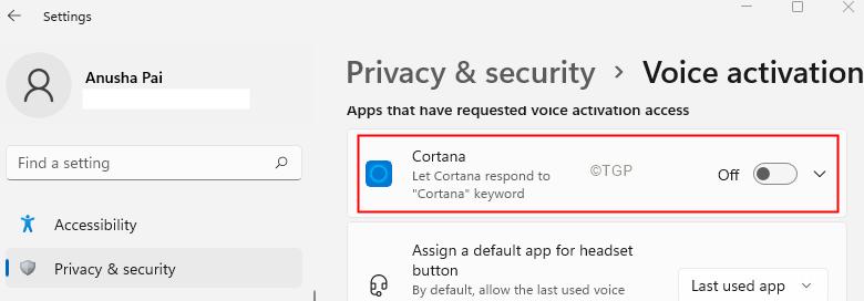 Switch Off Cortana