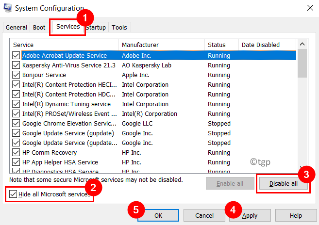 System Configuration Services Hide Microsoft Services Disable All Min