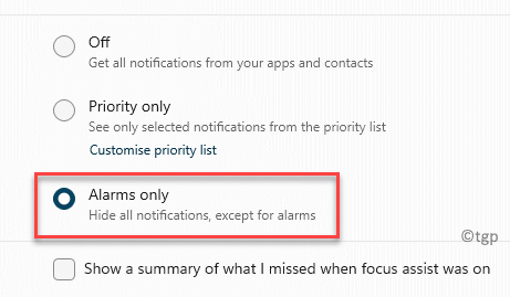 System Focus Assist Alarms Only