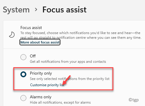 System Focus Assist Priority Only Customise Priority List Min