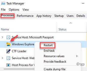 Task Manager Processes Tab Windows Explorer Right Click Restart Min