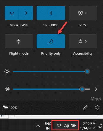 Taskbar Right Side Click Below Wifi, Sound And Battery Icon Action Center