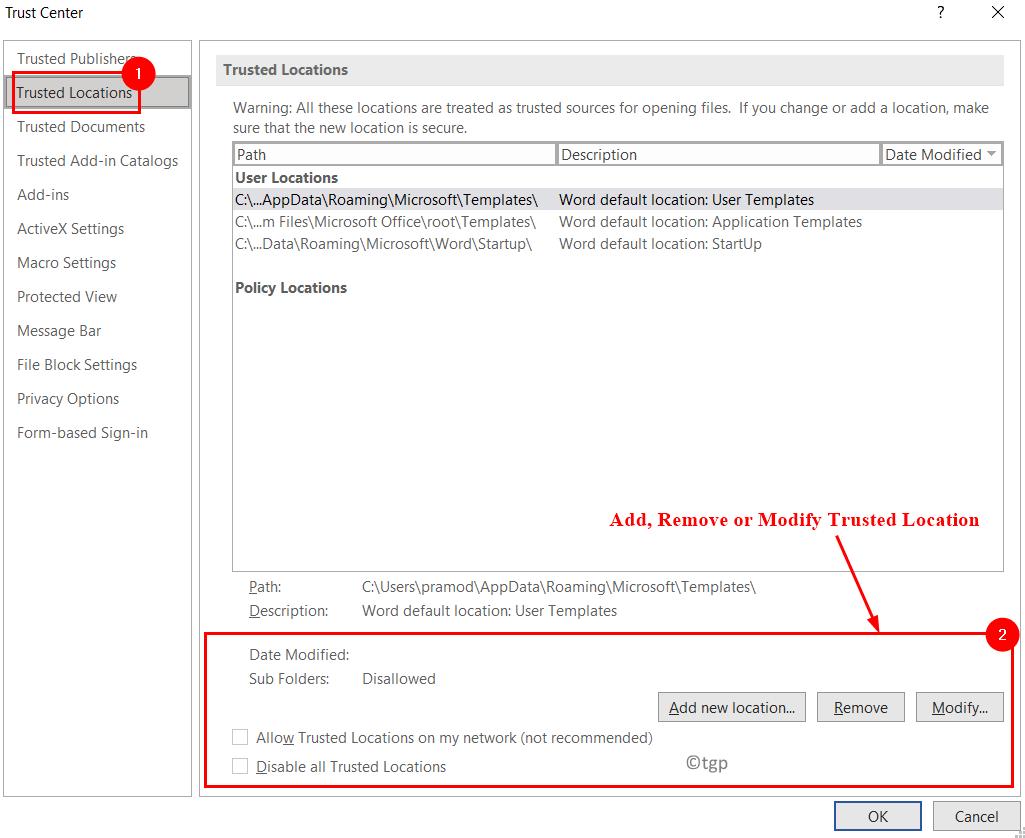 Trusted Locations Add Remove Modify Min