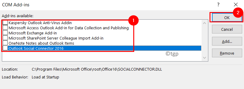 Uncheck Com Add Ins Outlook Min