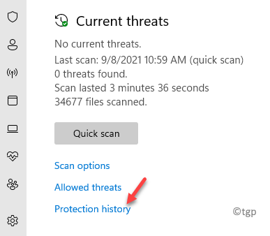 Virus & Threat Protection Current Threats Protection History